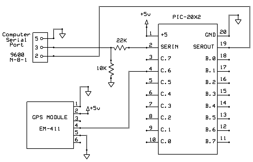 GPS Picaxe-20X2 Circuit Diagram